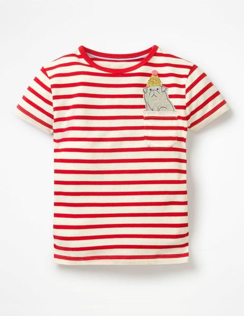 Pocket Appliqué T-Shirt - Polish Red/Ecru Dog