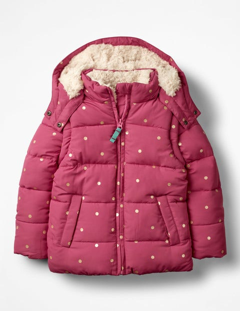 Cosy Two-In-One Padded Jacket - Rose Blossom Pink/Gold Spots