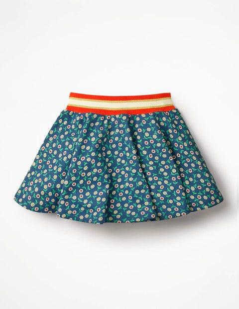 Colourful Skater Skirt - Starboard Blue Retro Daisies