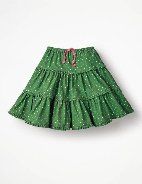Twirly Frilly Skirt - Willow Green Pin Spots
