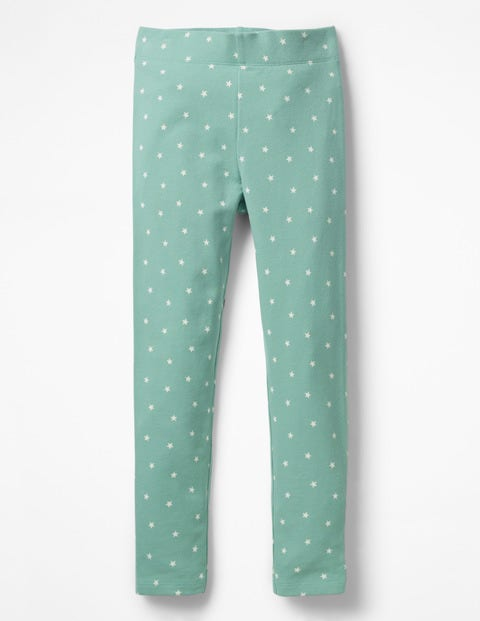 Fun Cosy Leggings - Jungle Green Marl Ecru Stars