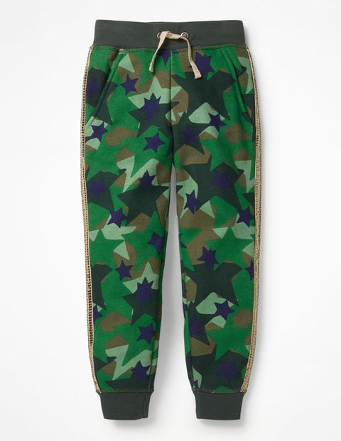 Detailed Joggers - Army Green Camo Star