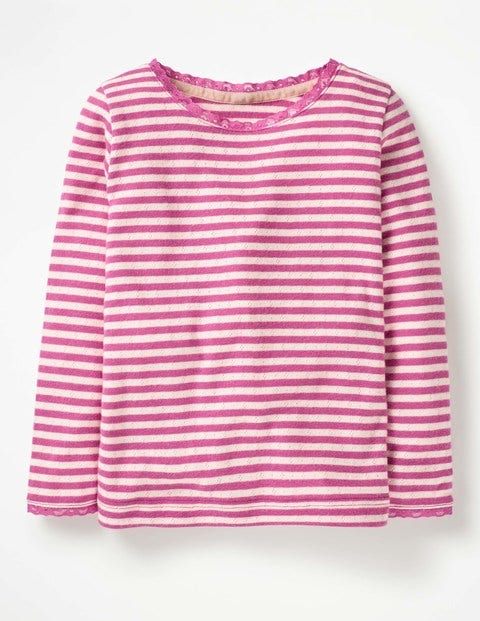 Supersoft Pointelle T-Shirt - Tickled Pink/Ecru