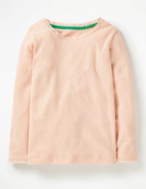 Superweiches Pointelle-T-Shirt - Provence-Altrosa