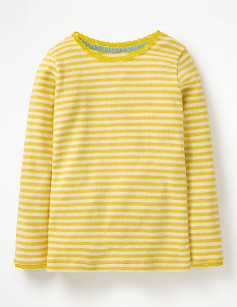 Supersoft Pointelle T-Shirt - Honeycomb Yellow/Ecru