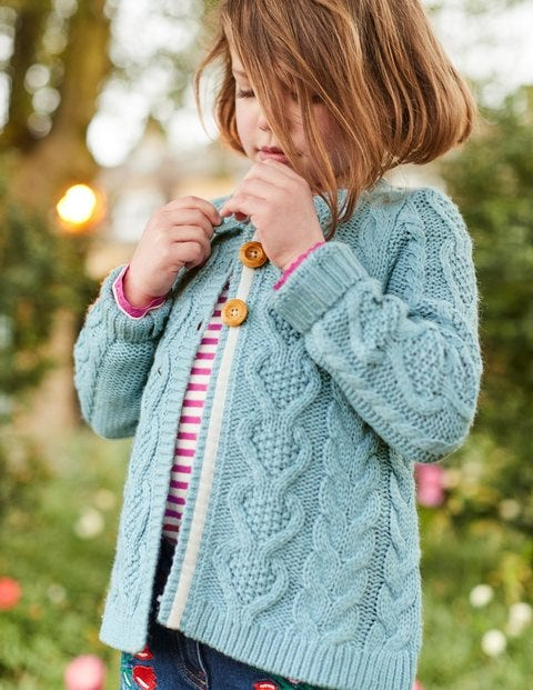 Cosy Cable Cardigan - Ice Blue