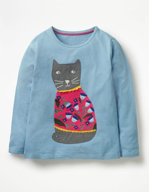 Felt Appliqué Pet T-Shirt - Heavenly Blue Cat