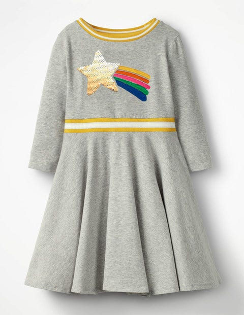 Colour-Change Sequin Dress - Grey Marl Rainbow Star