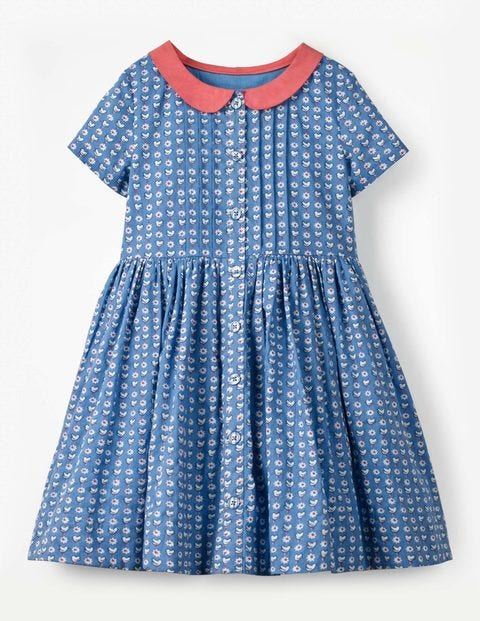 Collared Nostalgic Dress - Blue Geo Birds