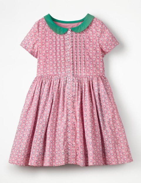 Collared Nostalgic Dress - Formica Pink Geo Birds