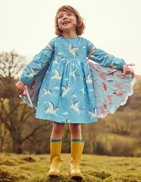 Full-Sleeved Woven Dress - Blue Rainbow Unicorns