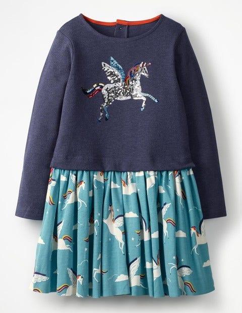Kleid Mit Pailletten-Logo - Blau, Regenbogen, Einhörner