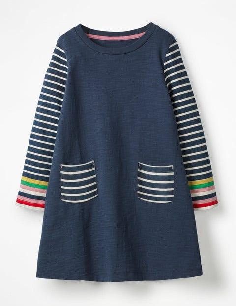 Stripy Jersey Dress - School Navy