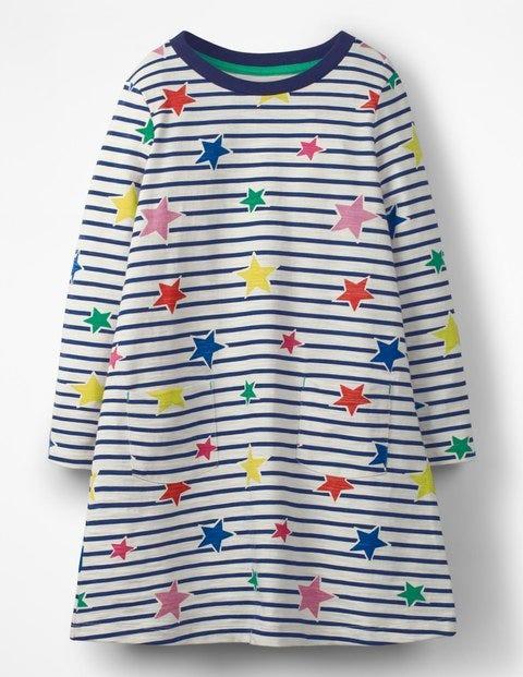 Stripy Jersey Dress - Star Stripe