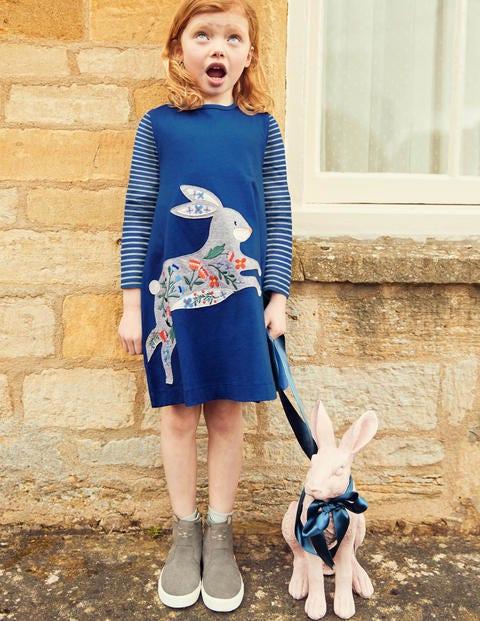 Big Appliqué Dress - Cobalt Blue Bunny