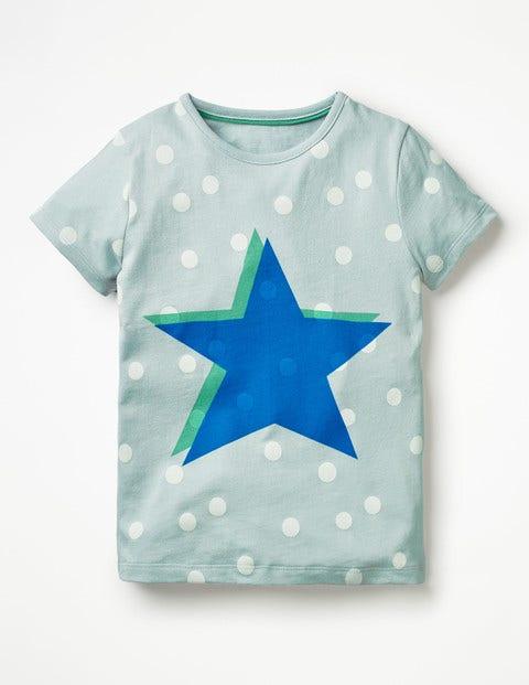 T-Shirt Mit Knalligen Farben - Eisblau, Stern