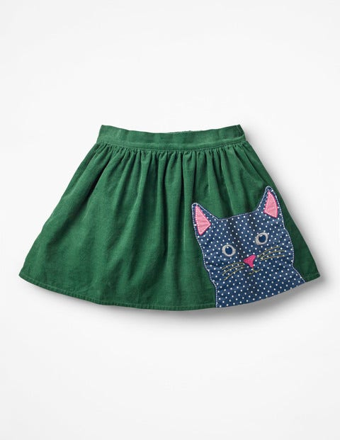 Animal Appliqué Skirt - Willow Green Cat