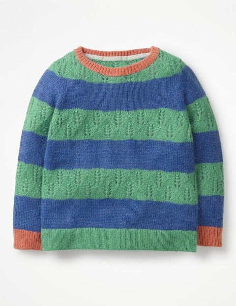 Textured Stripy Jumper - Jungle Green/Cobalt Blue