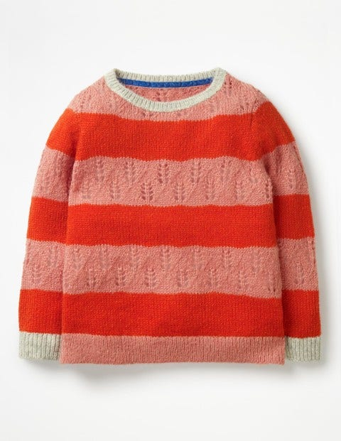 Textured Stripy Jumper - Poppy Red/Formica Pink