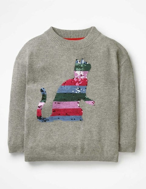 Colour-Change Sequin Sweater - Grey Marl Cat