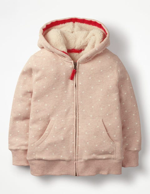 Printed Shaggy-Lined Hoodie - Provence Dusty Pink Marl/Stars