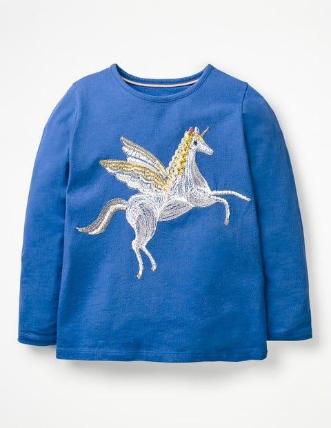 Superstitch Appliqué T-Shirt - Cobalt Blue Unicorn