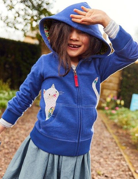 Novelty Zip-Up Hoodie - Cobalt Blue Cat