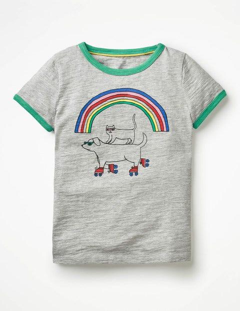 Fun Animals T-Shirt - Grey Marl Rainbow
