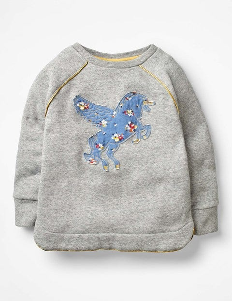 Fun Cosy Sweatshirt - Grey Marl Unicorn