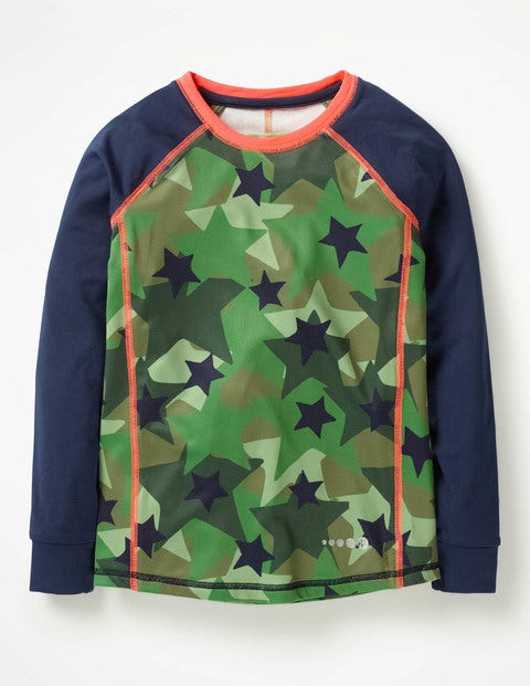 Long-Sleeved Active T-Shirt - Army Green Camo Star