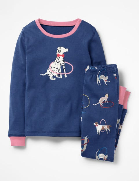 Cosy Long Johns Pajamas - Starboard Blue Playful Pets