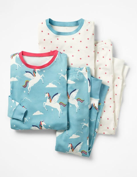 Twin Pack Long John Pyjamas - Blue Rainbow Unicorns/Stars