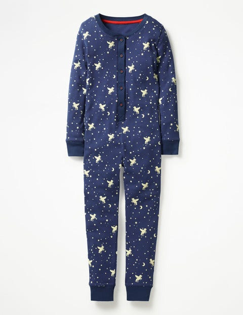 Cosy All-In-One Pyjamas - Starboard Blue Unicorn Sky