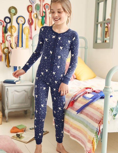 Cosy All-In-One Pajamas - Starboard Blue Unicorn Sky