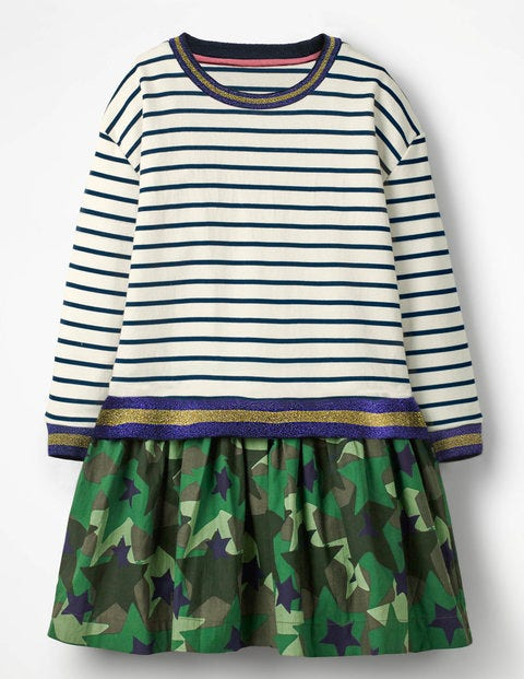 Fun Jersey Woven Dress - Sparkly Stripe/Camo Stars