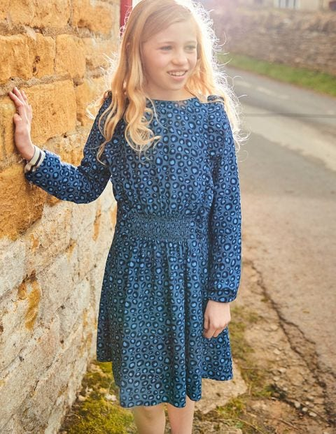 Woven Frill Dress - Blue Animal Print