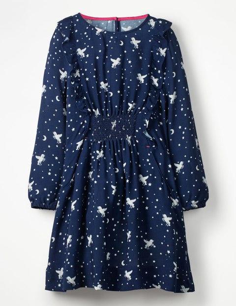 Woven Frill Dress - School Navy Unicorn Sky