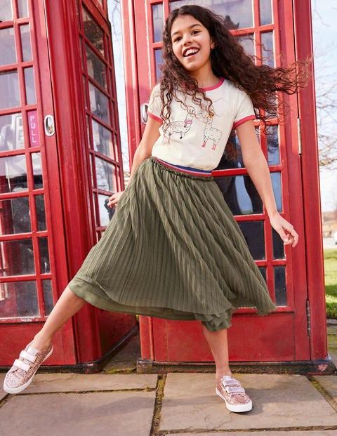 Pleated Tulle Midi Skirt - Army Green