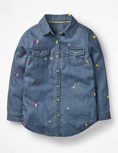 Embroidered Denim Shirt - Mid Wash Denim
