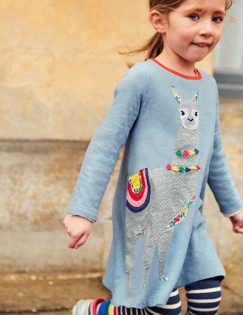 Patchwork Appliqué Dress - Blue Marl Llama