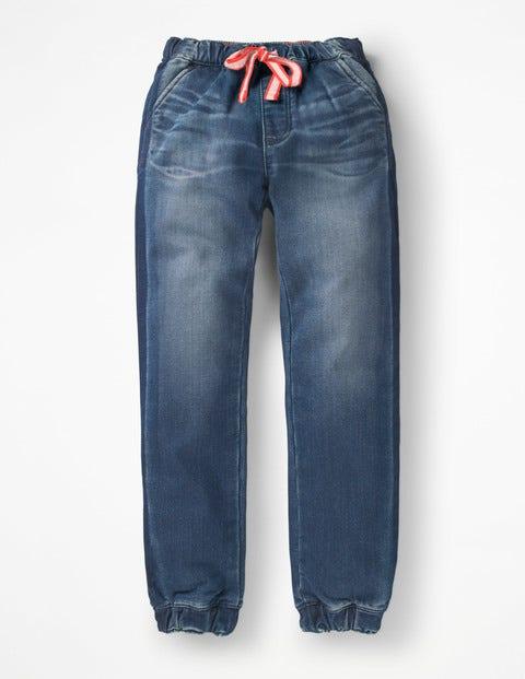 Jersey Denim Pull-On Trousers - Mid Vintage Contrast Stripe