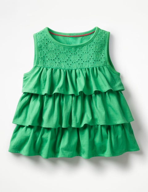 Pretty Ruffle Top Green Girls Boden, Green