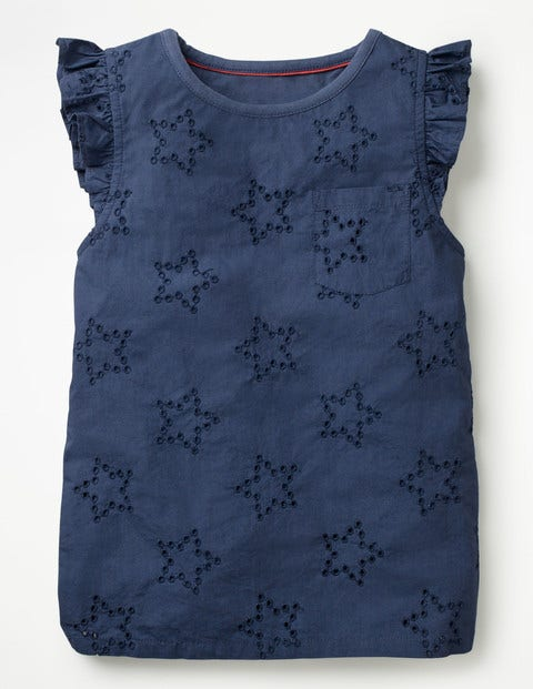 Broderie Star Top - Starboard Blue