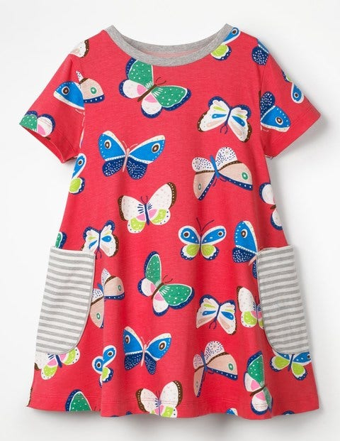 Colourful Printed Tunic - Raspberry Pink Butterflies