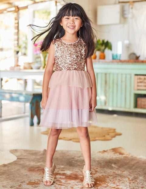 Sequin Tulle Tiered Dress - Provence Dusty Pink