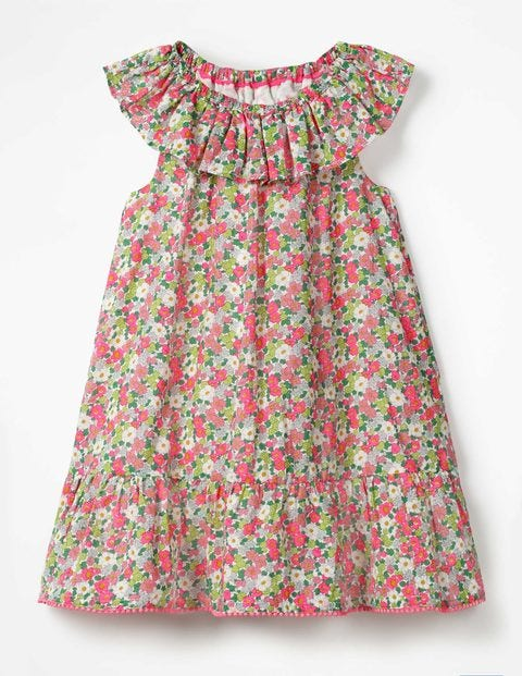 Ruffle Neck Dress - Knockout Pink Vintage Floral