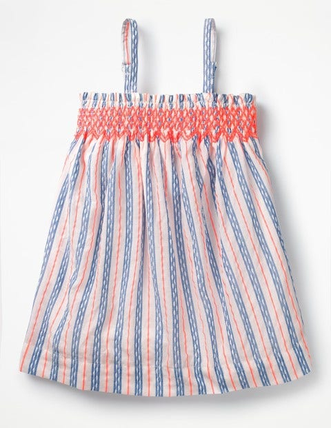 Strappy Smocked Top - Textured Blue and White Stripe