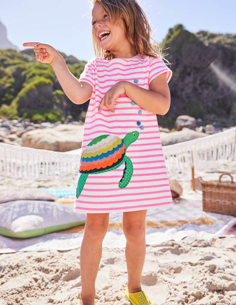 Holiday Applique Dress - Ivory/Knockout Pink Turtle