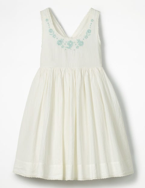 Pretty Embroidered Bow Dress - Ivory