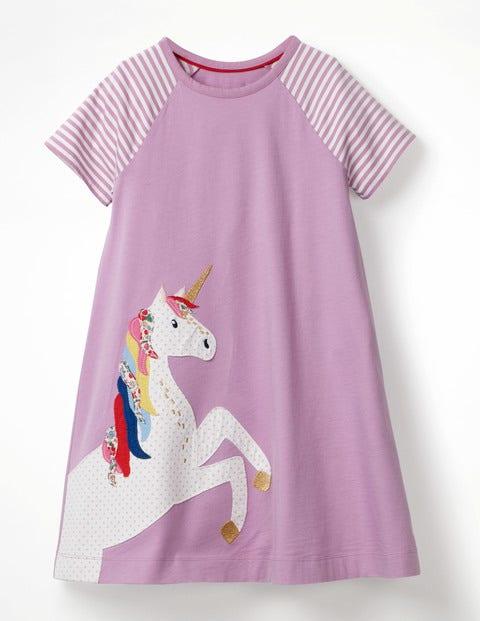 Unicorn Applique Jersey Dress - Cypher Purple Unicorn